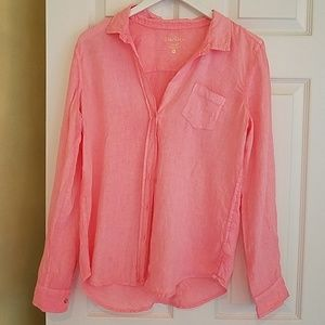 Lilly Pulitzer peach linen button down shirt